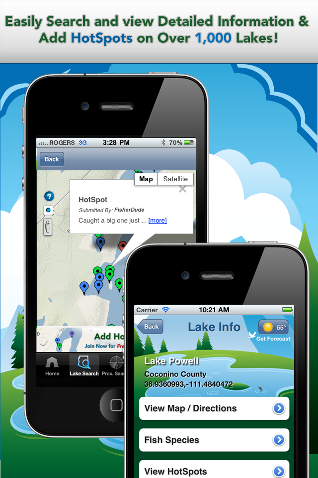 iFish Arizona App Lake Details & HotSpots Screens