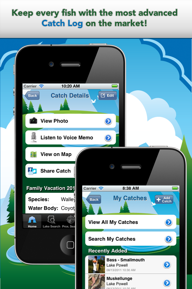 iFish Arizona App Catch Log Screens