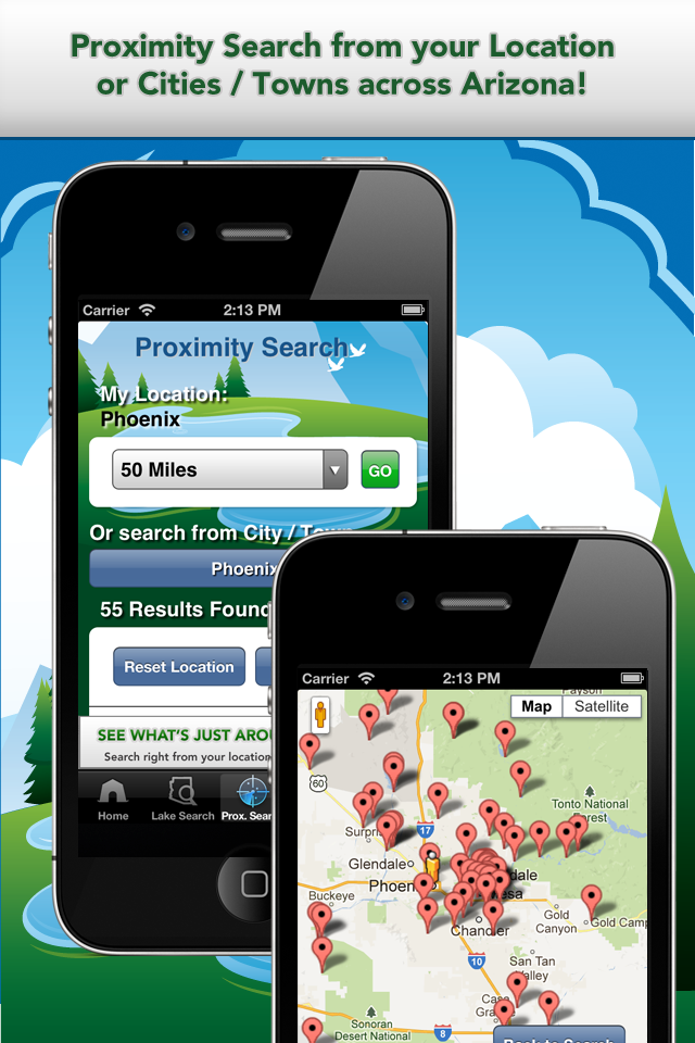 iFish Arizona App Proximity Search & Map View Screens